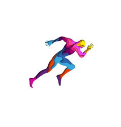 Paper cut shape sports man running 3d origami vector