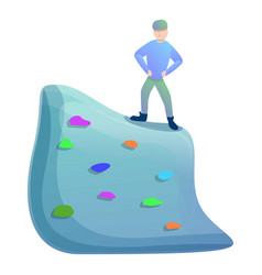peak wall climbing icon cartoon style vector image
