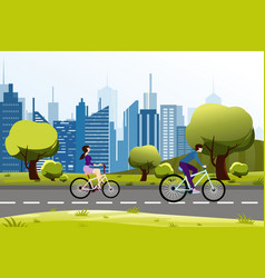 people man and woman riding vector image