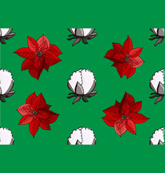 poinsettia ans cotton christmas pattern vector image