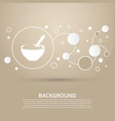 Porridge icon on a brown background with elegant vector