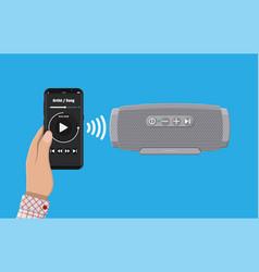 Portable wireless speaker smartphone vector