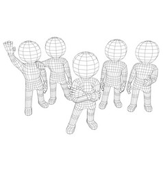 Puppet 3d men five friends vector