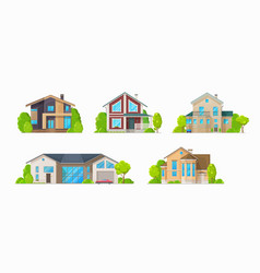 residential houses family home cottages buildings vector image
