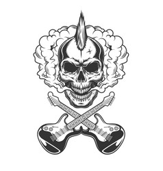 rocker skull with mohawk vector image