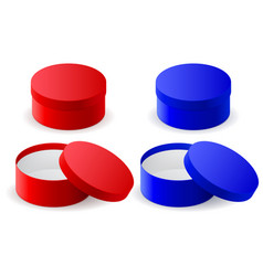 Round gift box blue and red closed and open vector