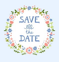 save date floral wreath vector image