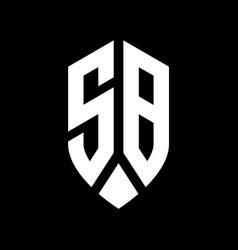sb logo monogram with emblem shield style design vector image