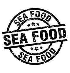 Sea food round grunge black stamp vector