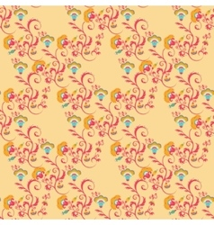 Seamless Victorian floral pattern in orange colors vector image vector image