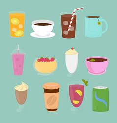 set drinks in flat cartoon vector image