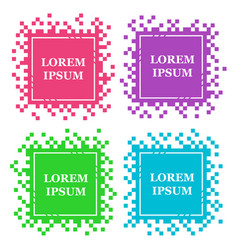 set of colored square pixel banners vector image