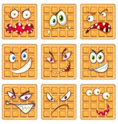 Set of waffle facial expression vector