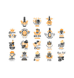 set original black and orange beer logo vector image