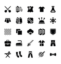 Sewing and stitching solid icons vector