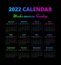 Simple 2022 year calendar weeks start on sunday vector
