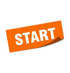 Start sticker start square sign start peeler vector