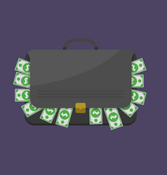 Suitcase with dollar banknotes vector