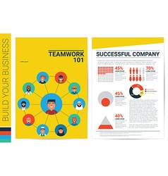 Teamwork concept book cover template vector image