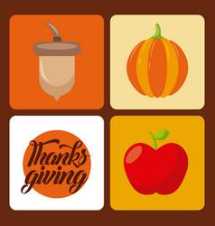 thanksgiving set icons celebration holiday vector image