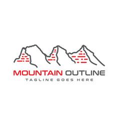 three mountain outline logo design vector image