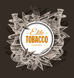 Tobacco and smoking sketch round background vector