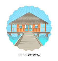 Tropical bungalow cottage house on water vector