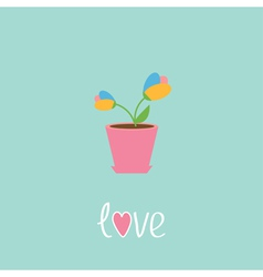 Tulip in pot love card vector