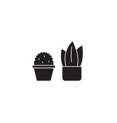 two cactuses black concept icon two vector image