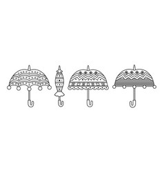 Umbrellas antistress coloring book for children vector