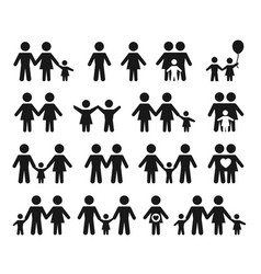 variety family icons set vector image