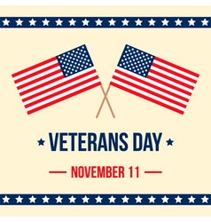 Veterans day card with american flag background vector