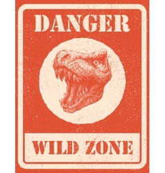 Warning sign danger signal with dinosaur eps 8 vector