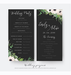 Wedding ceremony and party program card vector