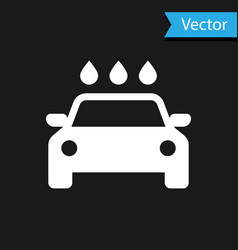 White car wash icon isolated on black background vector