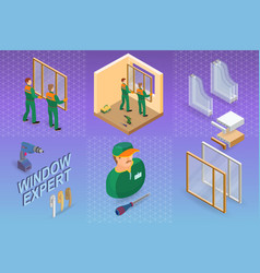 window installing service isometric concept vector image