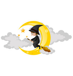 witch flying on magic broom vector image vector image