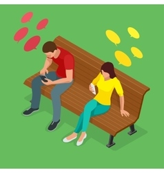 young man and woman sitting on bench and send vector image