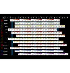 Black linear calendar 2013 vector image