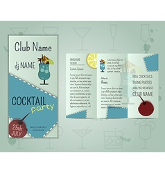 Summer cocktail party flyer layout template with vector image