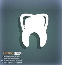 Tooth icon On the blue-green abstract background vector image vector image