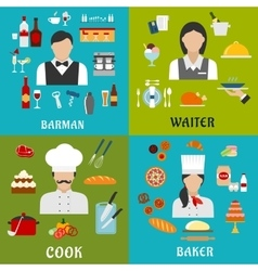 Cook baker waitress and barman professions vector image
