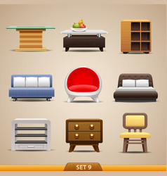 furniture icons-set 9 vector image