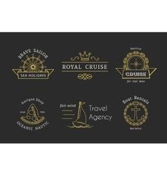 Retro nautical logo templates vector