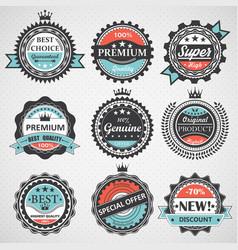 Set of premium quality guaranteed genuine badges vector image vector image