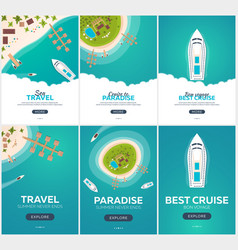 set of summer travel banner sea travel summer vector image
