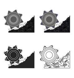 bucket-wheel excavator icon in cartoon style vector image
