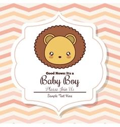 Kawaii lion baby shower design graphic vector