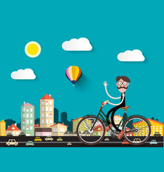 man on bicycle in the city with small cars flat vector image vector image