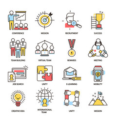 team building business communication outline icons vector image